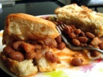 mexican-style pork and beans on salted bread from our neighborhood bakery
